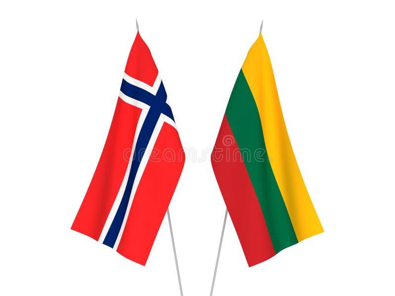 De vlaggen van Litouwen en van Noorwegen royalty-vrije illustratie