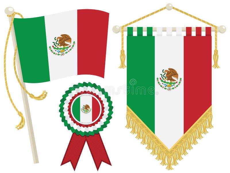 De vlaggen van Mexico vector illustratie