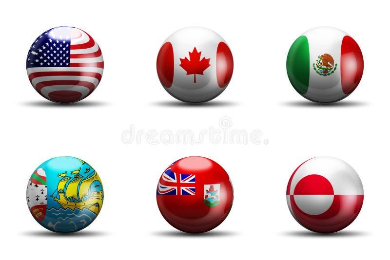 De Vlaggen van Noord-Amerika stock foto