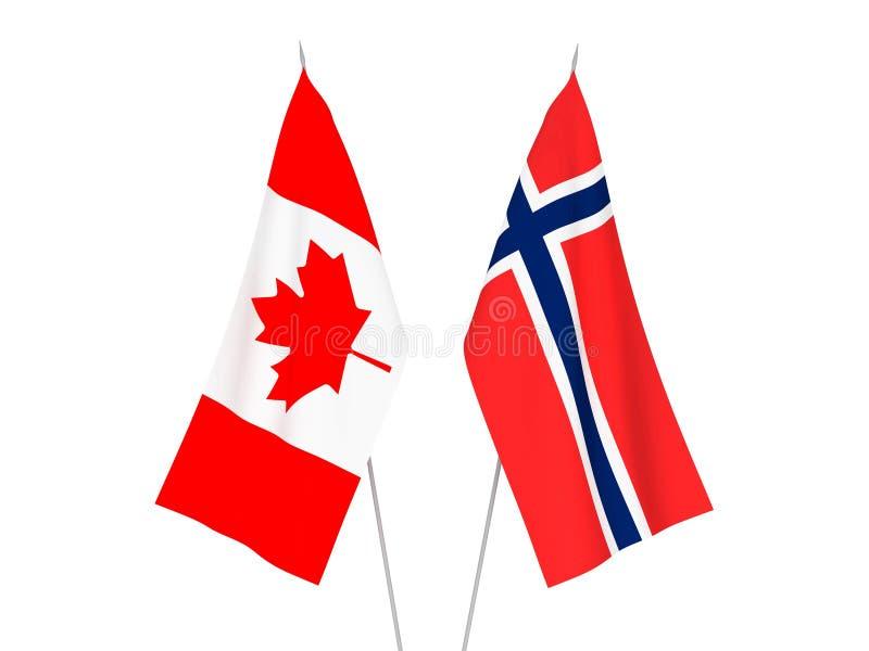De vlaggen van Noorwegen en van Canada vector illustratie