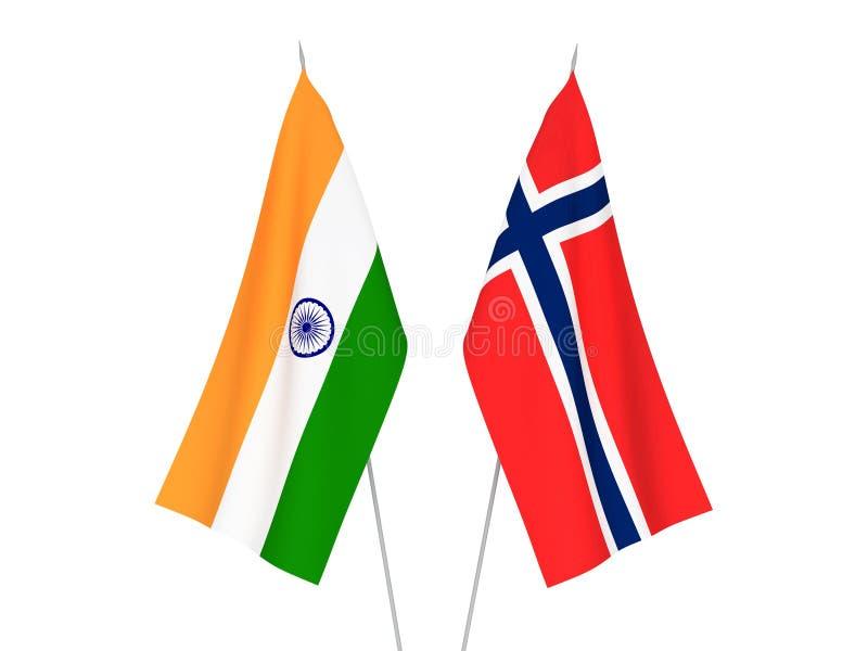 De vlaggen van Noorwegen en van India royalty-vrije illustratie