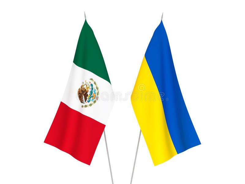 De vlaggen van de Oekraïne en van Mexico vector illustratie
