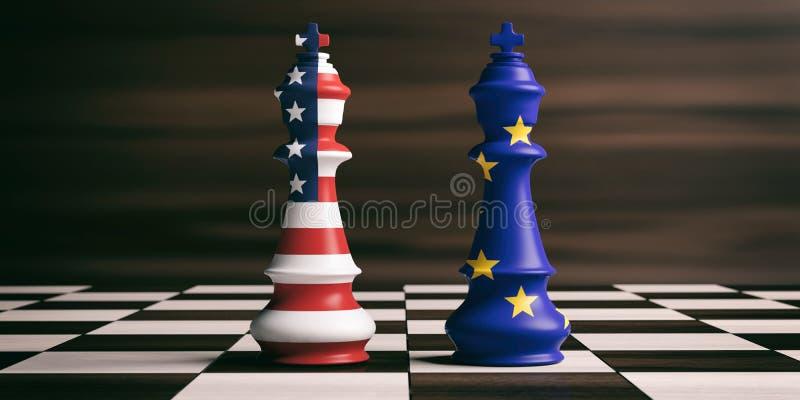 De vlaggen van de V.S. en de EU-op schaakkoningen 3D Illustratie vector illustratie