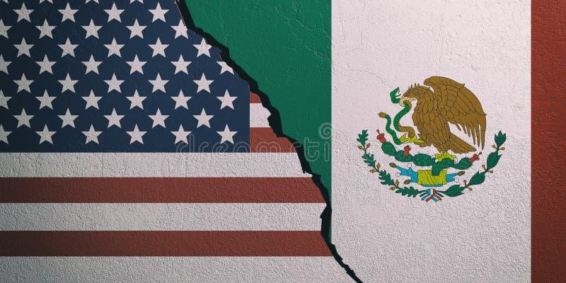 De vlaggen van de V.S. en van Mexico op gebarsten muurachtergrond 3D Illustratie royalty-vrije illustratie