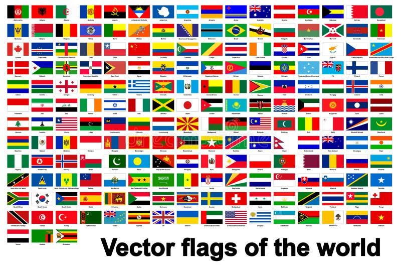 de vlaggen van de wereld isoleren op Witte Achtergrond, Vectorillustratie EPS 10 stock illustratie