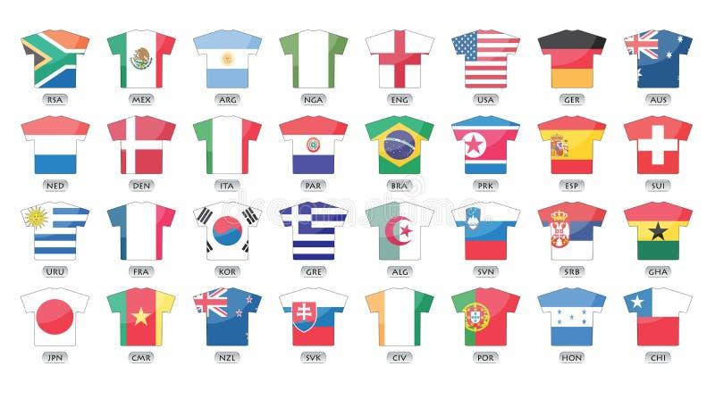 De vlaggenpictogrammen van landen, wereldkop 2010 vector illustratie