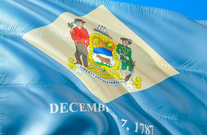 De vlaggenstaat van Delaware 3D het Golven vlagontwerp De vlaggen van de staat van de V.S. van Delaware en Dover, het 3D teruggev royalty-vrije illustratie