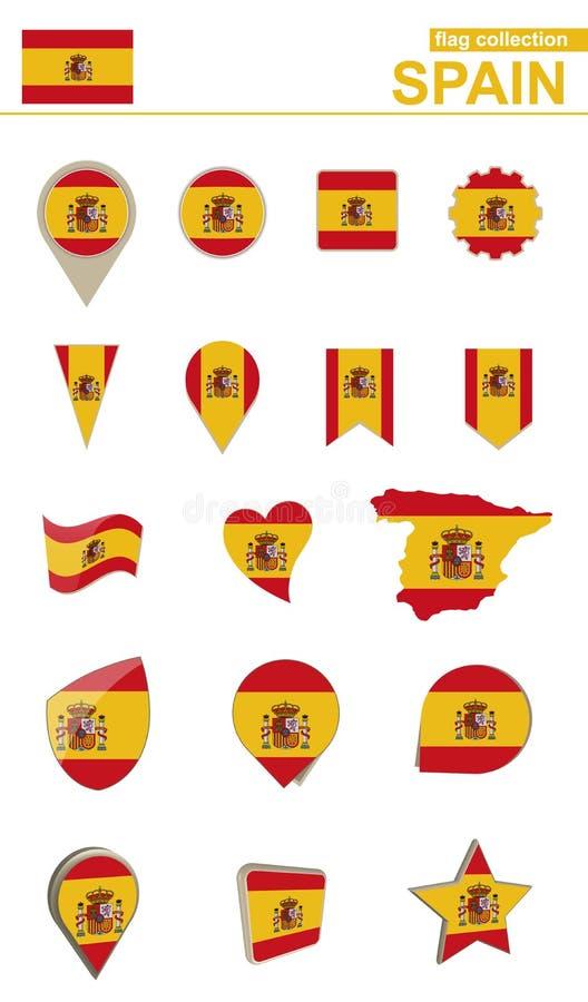 De Vlaginzameling van Spanje Grote reeks voor ontwerp stock illustratie
