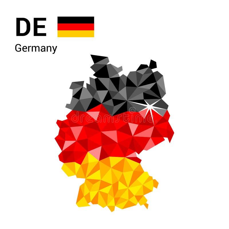 De vlagkaart van Duitsland in veelhoekige geometrische stijl vector illustratie