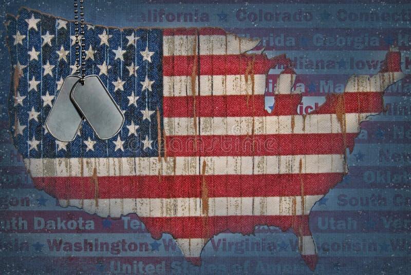 De vlagkaart van Verenigde Staten royalty-vrije illustratie