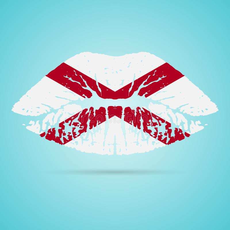 De Vlaglippenstift van Alabama op de Lippen op een Witte Achtergrond worden geïsoleerd die Vector illustratie stock illustratie