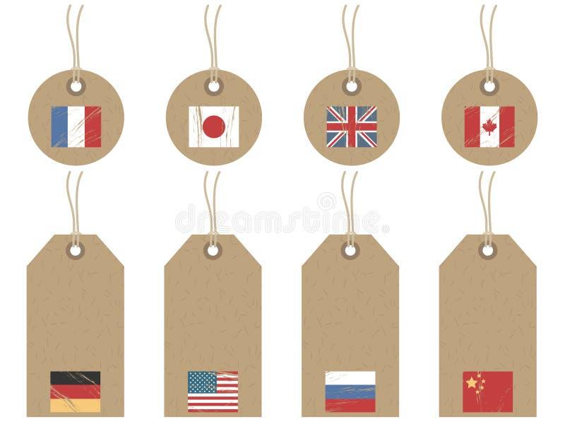 De vlagmarkeringen van de wereld vector illustratie