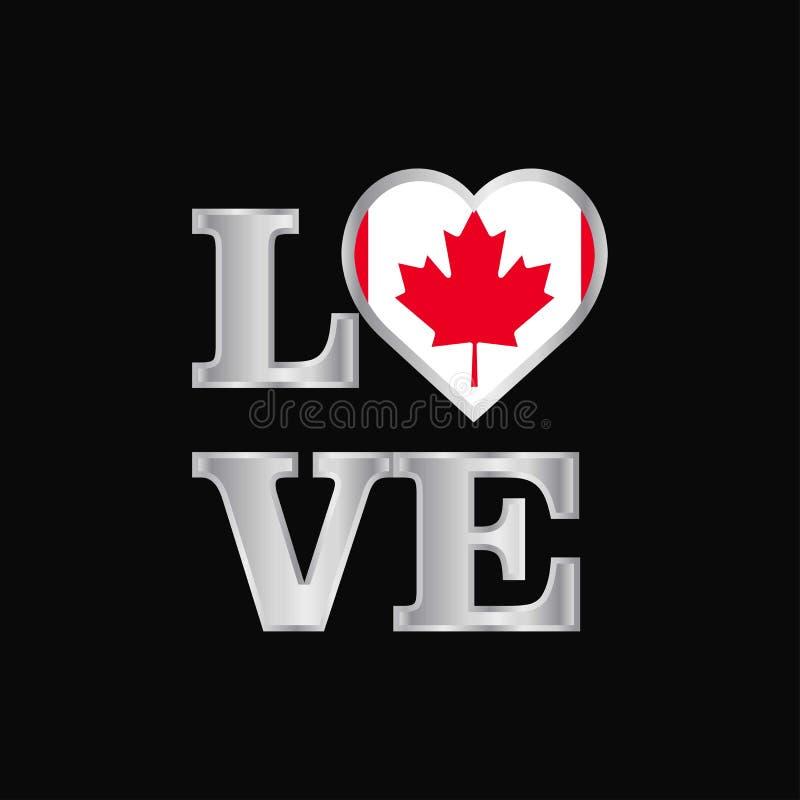 De vlagontwerp van Canada van de liefdetypografie het vector mooie van letters voorzien vector illustratie