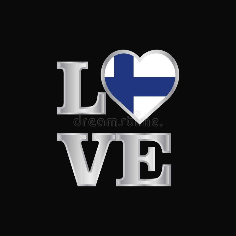 De vlagontwerp van Finland van de liefdetypografie het vector mooie van letters voorzien vector illustratie