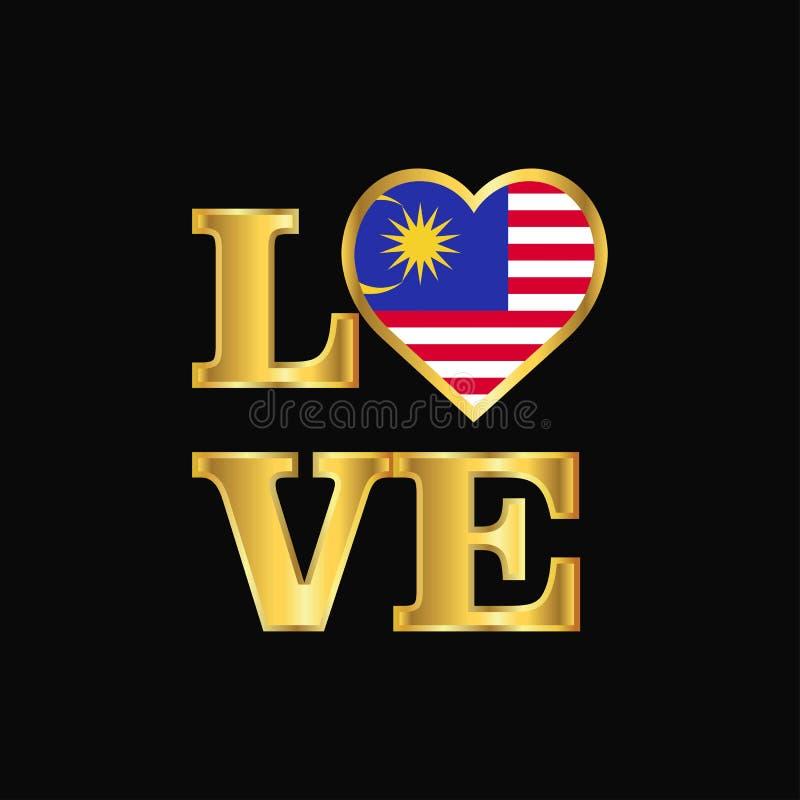 De vlagontwerp van Maleisië van de liefdetypografie het vector Gouden van letters voorzien vector illustratie