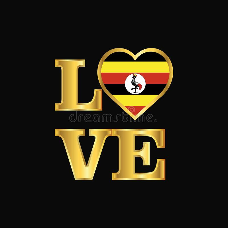 De vlagontwerp van Oeganda van de liefdetypografie het vector Gouden van letters voorzien royalty-vrije illustratie
