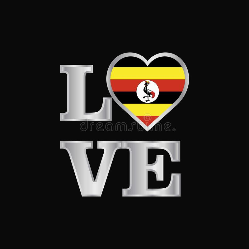 De vlagontwerp van Oeganda van de liefdetypografie het vector mooie van letters voorzien vector illustratie