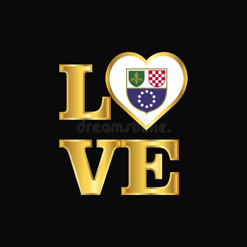 De vlagontwerp vector Gouden l van Bosnië-Herzegovina van de liefdetypografie stock illustratie