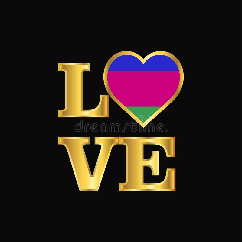 De vlagontwerp vector Gouden l van de Volksrepubliek van Kuban van de liefdetypografie royalty-vrije illustratie