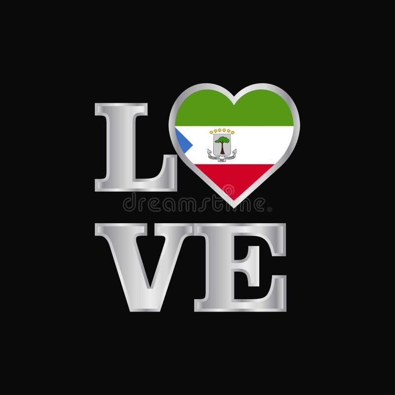 De vlagontwerp vector mooi l van Equatoriaal-Guinea van de liefdetypografie vector illustratie