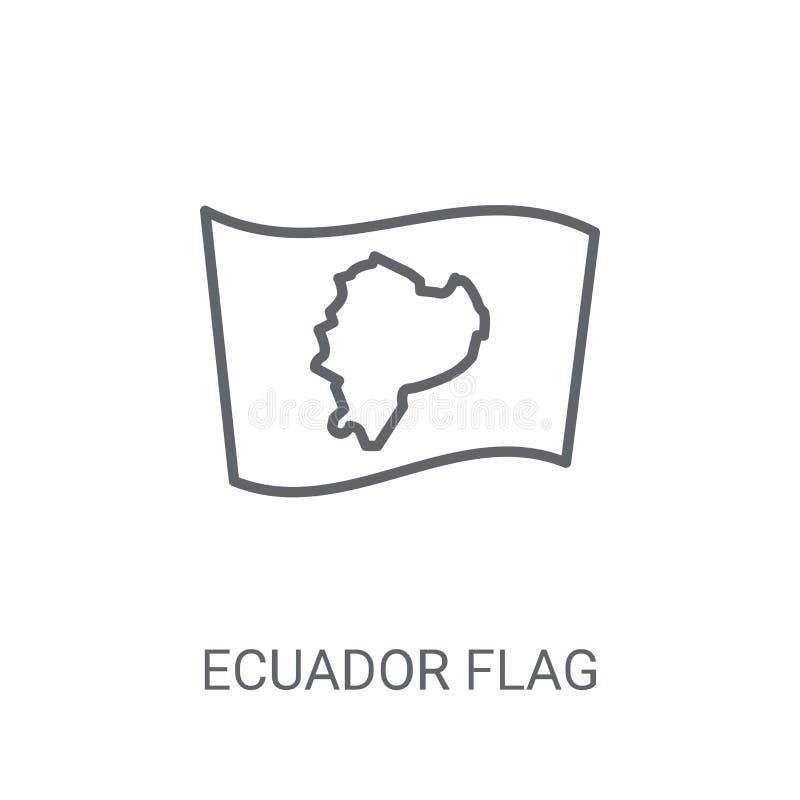 De vlagpictogram van Ecuador Het in concept van het de vlagembleem van Ecuador op witte bac royalty-vrije illustratie