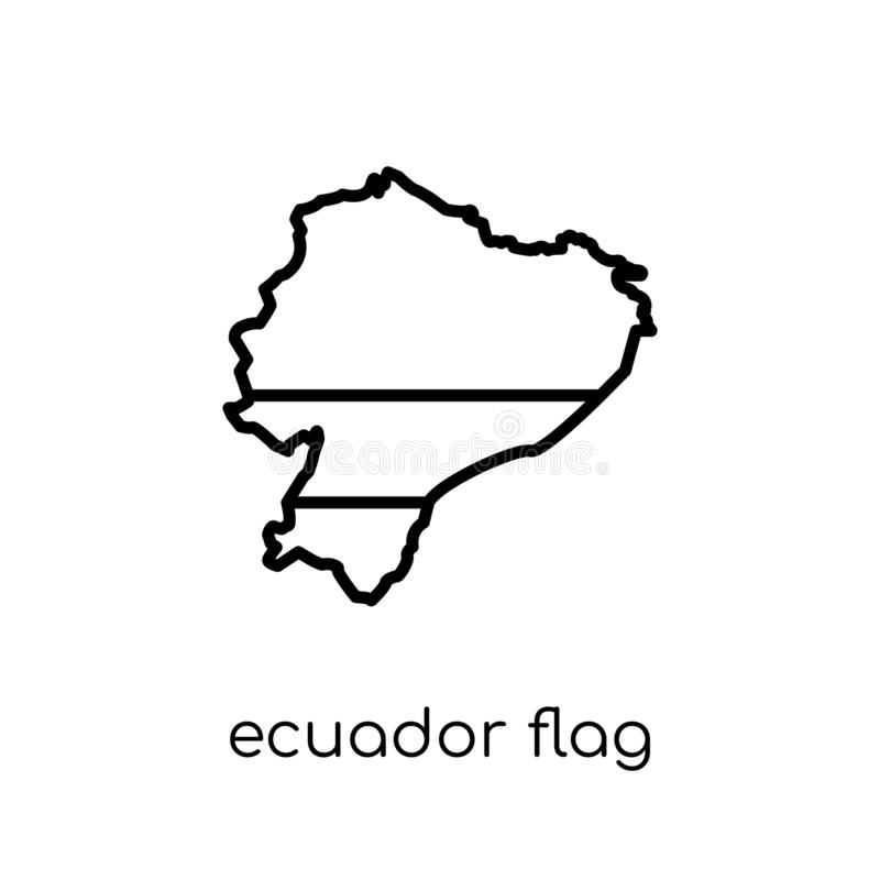 De vlagpictogram van Ecuador De in moderne vlakke lineaire vectorvlag van Ecuador royalty-vrije illustratie