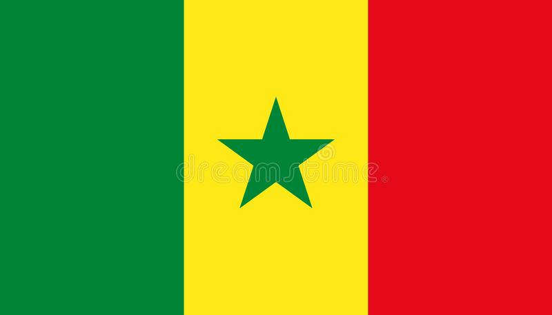De vlagpictogram van Senegal in vlakke stijl Nationale teken vectorillustratie Politiek bedrijfsconcept stock illustratie