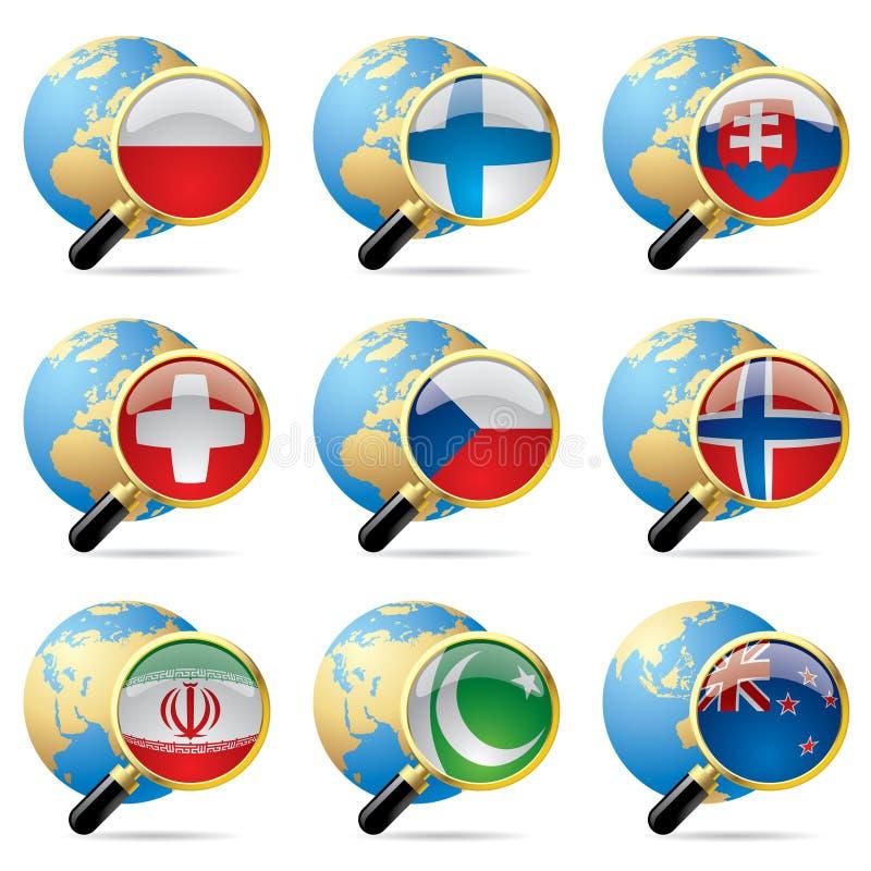 De vlagpictogrammen van de wereld vector illustratie