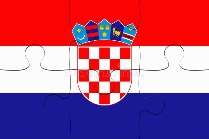 De Vlagpuzzel van Kroatië, 3d illustratie royalty-vrije illustratie