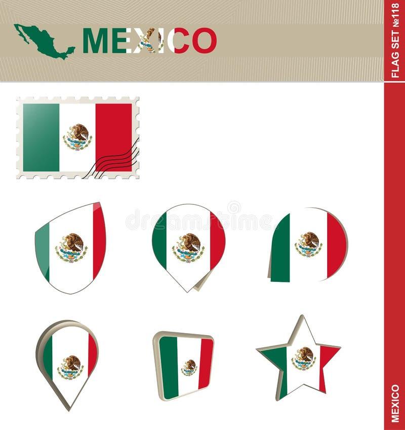 De Vlagreeks van Mexico, Vlag Vastgestelde #118 vector illustratie