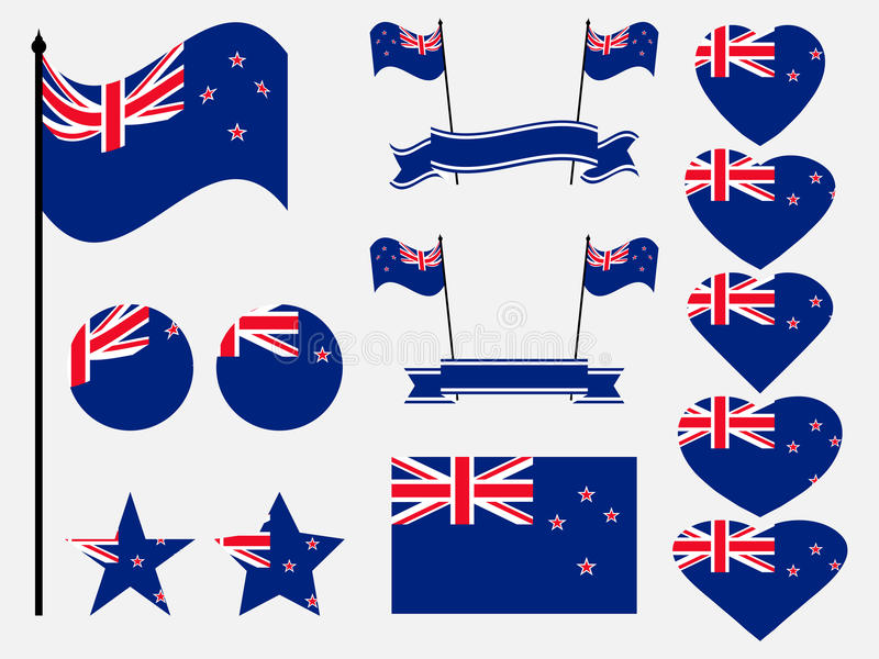 De vlagreeks van Nieuw Zeeland Inzameling van symbolen, vlag in hart Vector royalty-vrije illustratie