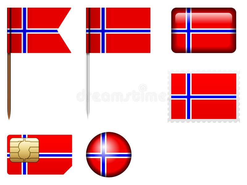 De vlagreeks van Noorwegen vector illustratie
