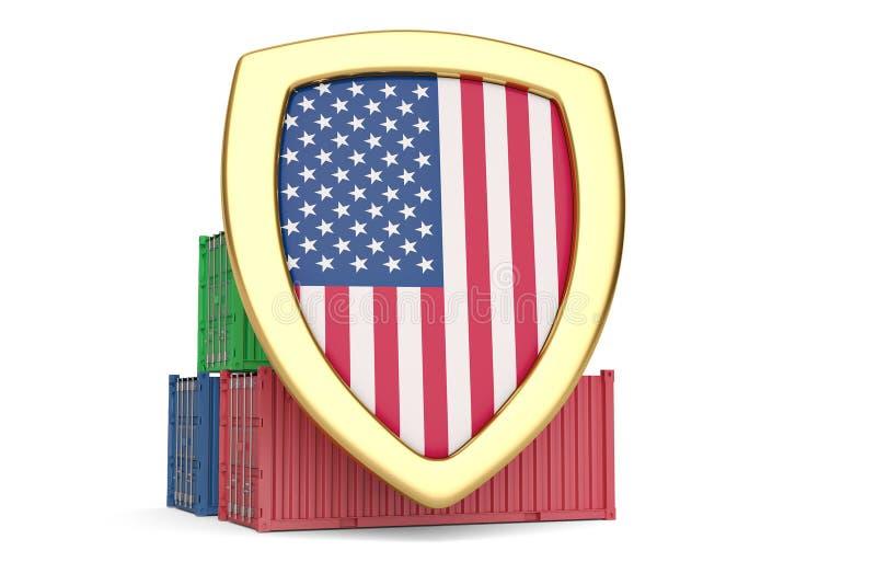 De vlagschild en containers van de V.S. 3D Illustratie vector illustratie