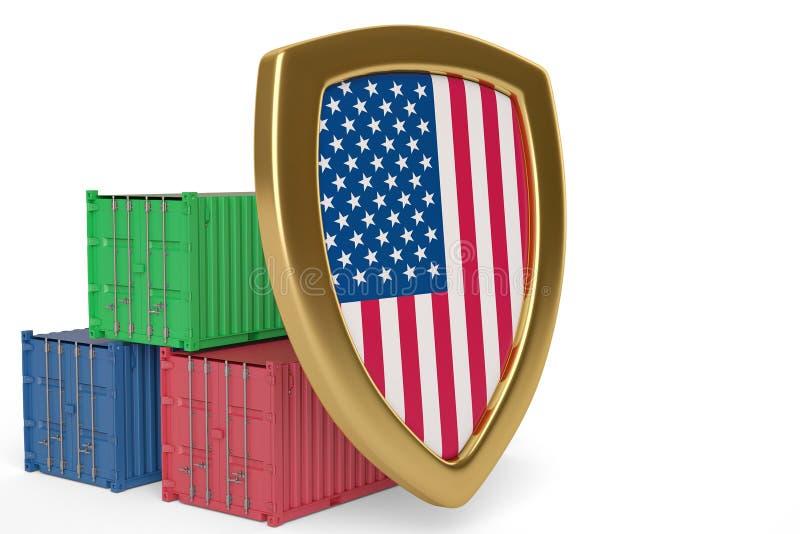 De vlagschild en containers van de V.S. 3D Illustratie royalty-vrije illustratie
