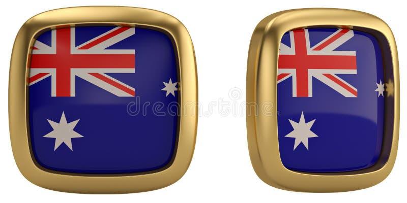 De vlagsymbool van Australië op witte achtergrond wordt geïsoleerd die 3d illustrat stock afbeelding
