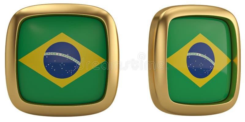 De vlagsymbool van Brazilië op witte achtergrond wordt geïsoleerd die 3D Illustratie royalty-vrije stock fotografie