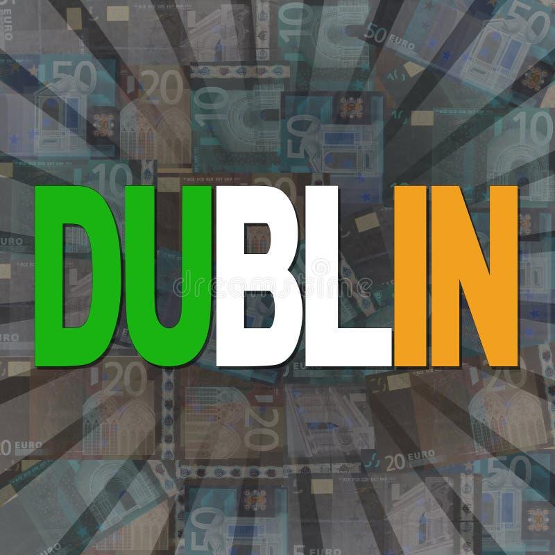De de vlagtekst van Dublin op Euro barstte illustratie vector illustratie
