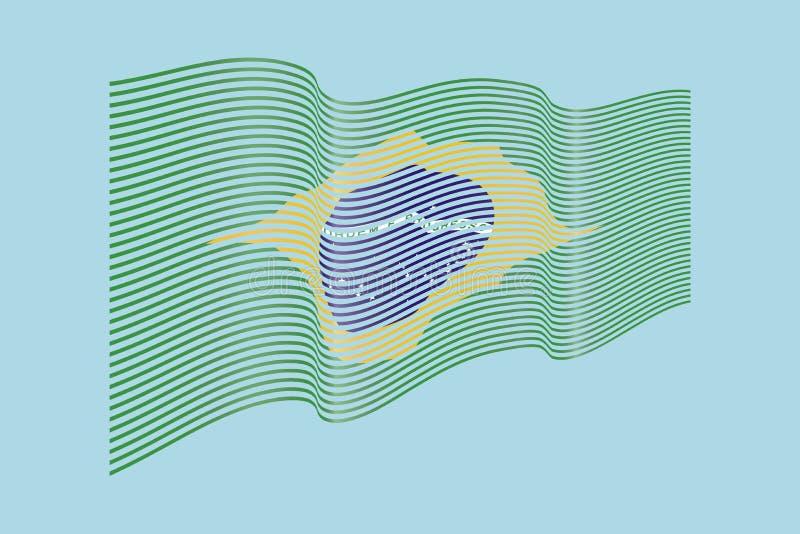 De vlagvector van Brazilië op blauwe achtergrond De vlag van golfstrepen, lijnillustratie royalty-vrije illustratie