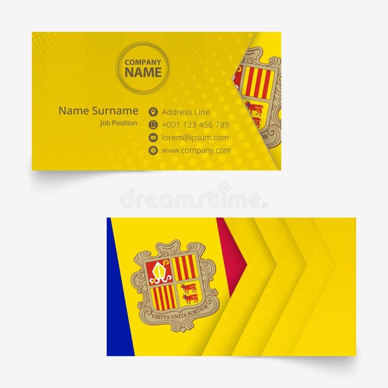 De Vlagvisitekaartje van Andorra, het standaardmalplaatje van het grootte90x50 mm adreskaartje stock illustratie