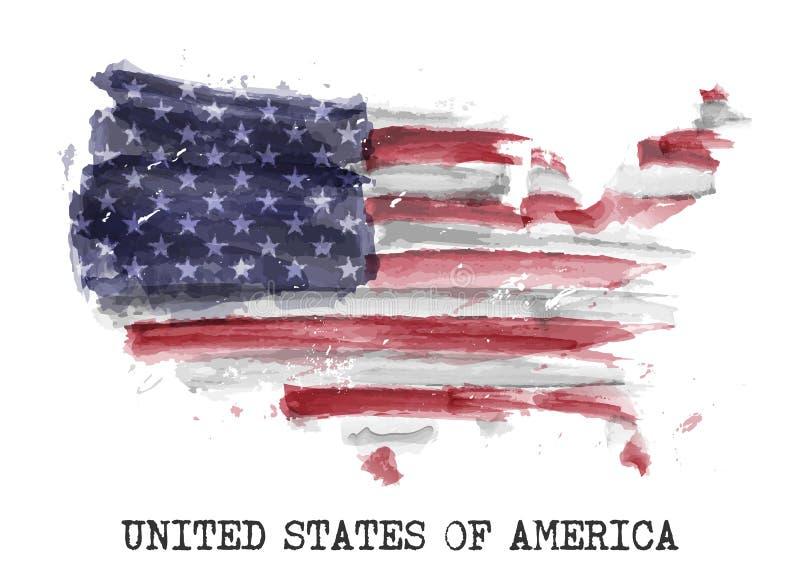 De vlagwaterverf van Amerika het schilderen ontwerp De kaartvorm van het land Concept 4 Juli 1776 van de onafhankelijkheidsdag Ve vector illustratie
