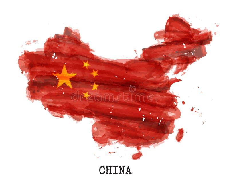 De vlagwaterverf van China het schilderen ontwerp De kaartvorm van het land Sportenteam en nationaal dagconcept 1 Oktober 1949 Ve stock illustratie
