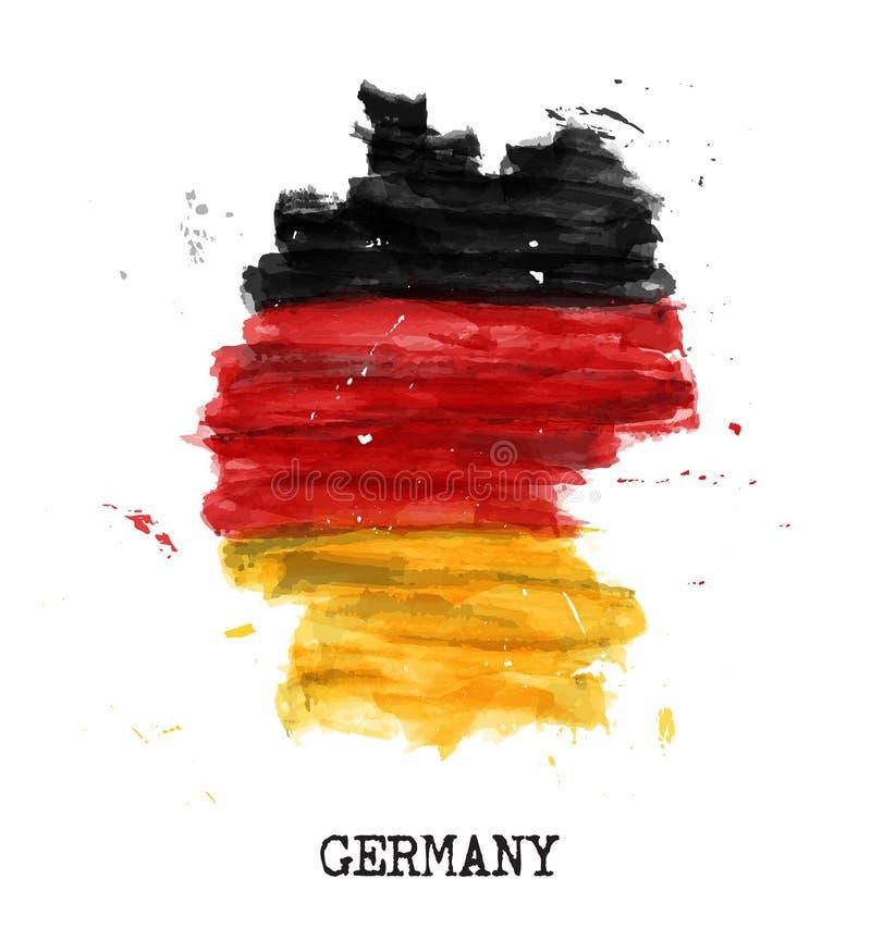 De vlagwaterverf van Duitsland het schilderen ontwerp De kaartvorm van het land Sportenteam en Duits concept 3 van de eenheidsdag vector illustratie