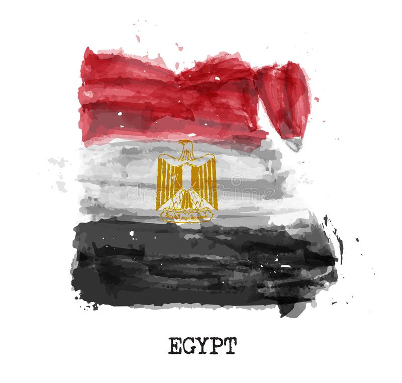 De vlagwaterverf van Egypte het schilderen ontwerp De kaartvorm van het land Sportenteam en nationaal dagconcept 23 Juli 1952 Vec vector illustratie