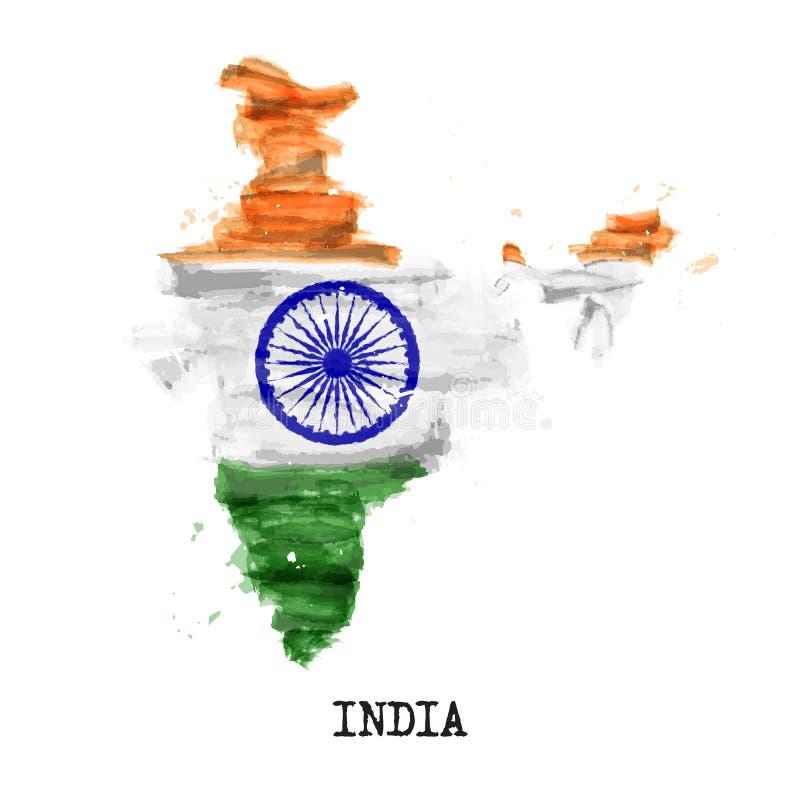 De vlagwaterverf van India het schilderen ontwerp De kaartvorm van het land Sportenteam en concept 15 Augustus 1947 van de onafha vector illustratie