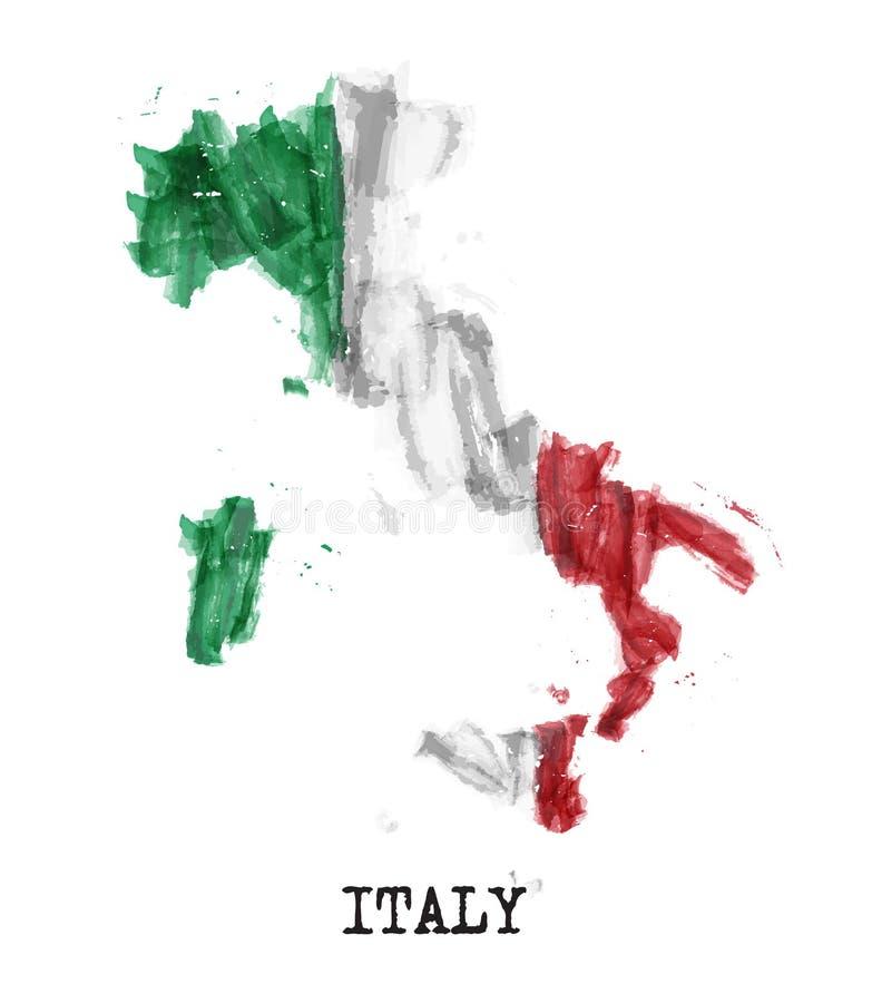 De vlagwaterverf van Italië het schilderen ontwerp De kaartvorm van het land Van de sportenteam en Republiek dagconcept 2 Juni Ve stock illustratie