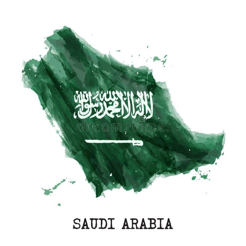 De vlagwaterverf van Saudi-Arabië het schilderen ontwerp De kaartvorm van het land Concept 23 van de onafhankelijkheidsdag Septem stock illustratie