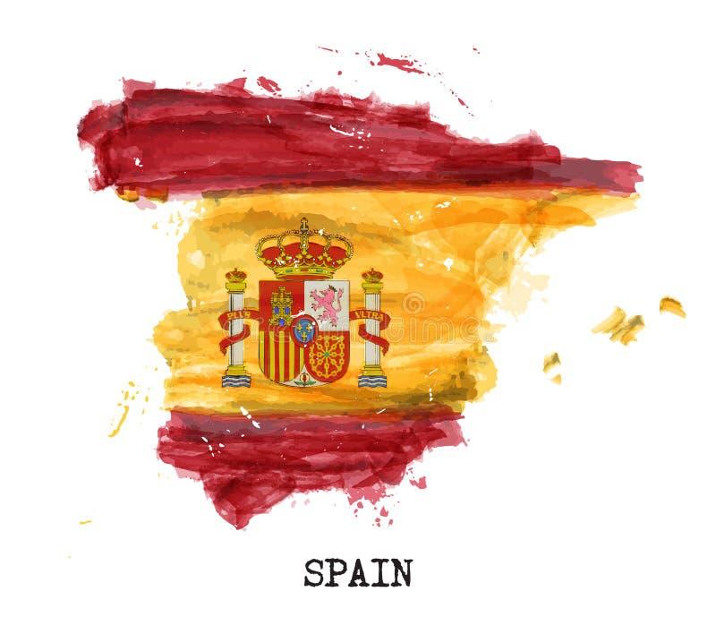 De vlagwaterverf van Spanje het schilderen ontwerp De kaartvorm van het land Sportenteam en Nationaal dagconcept 12 Oktober 1492  stock illustratie