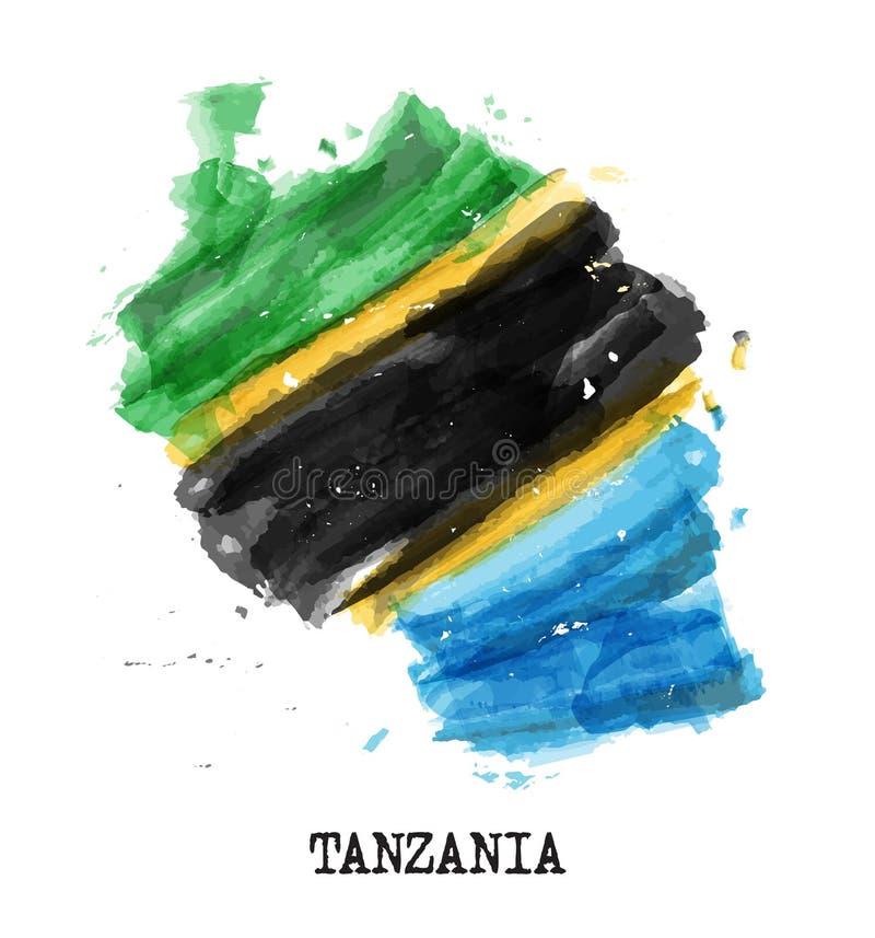De vlagwaterverf van Tanzania het schilderen ontwerp De kaartvorm van het land Vector stock illustratie