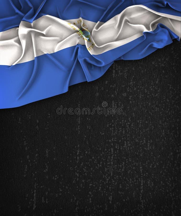 De Vlagwijnoogst van Nicaragua op een Zwart Bord van Grunge met Ruimtef stock foto