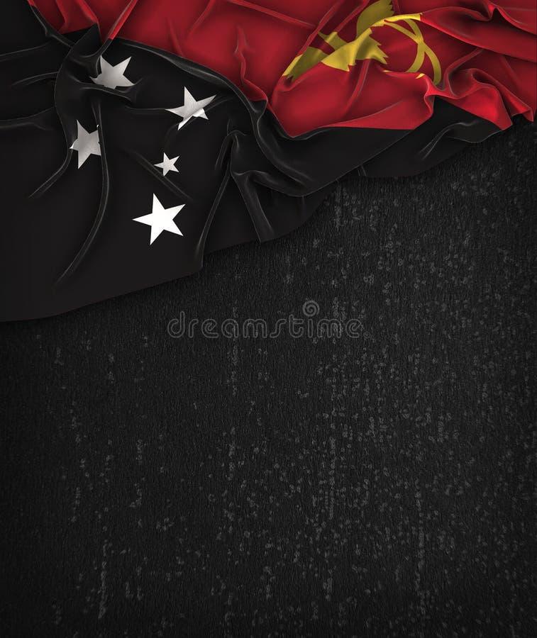 De Vlagwijnoogst van Papoea-Nieuw-Guinea op een Zwart Bord van Grunge stock illustratie